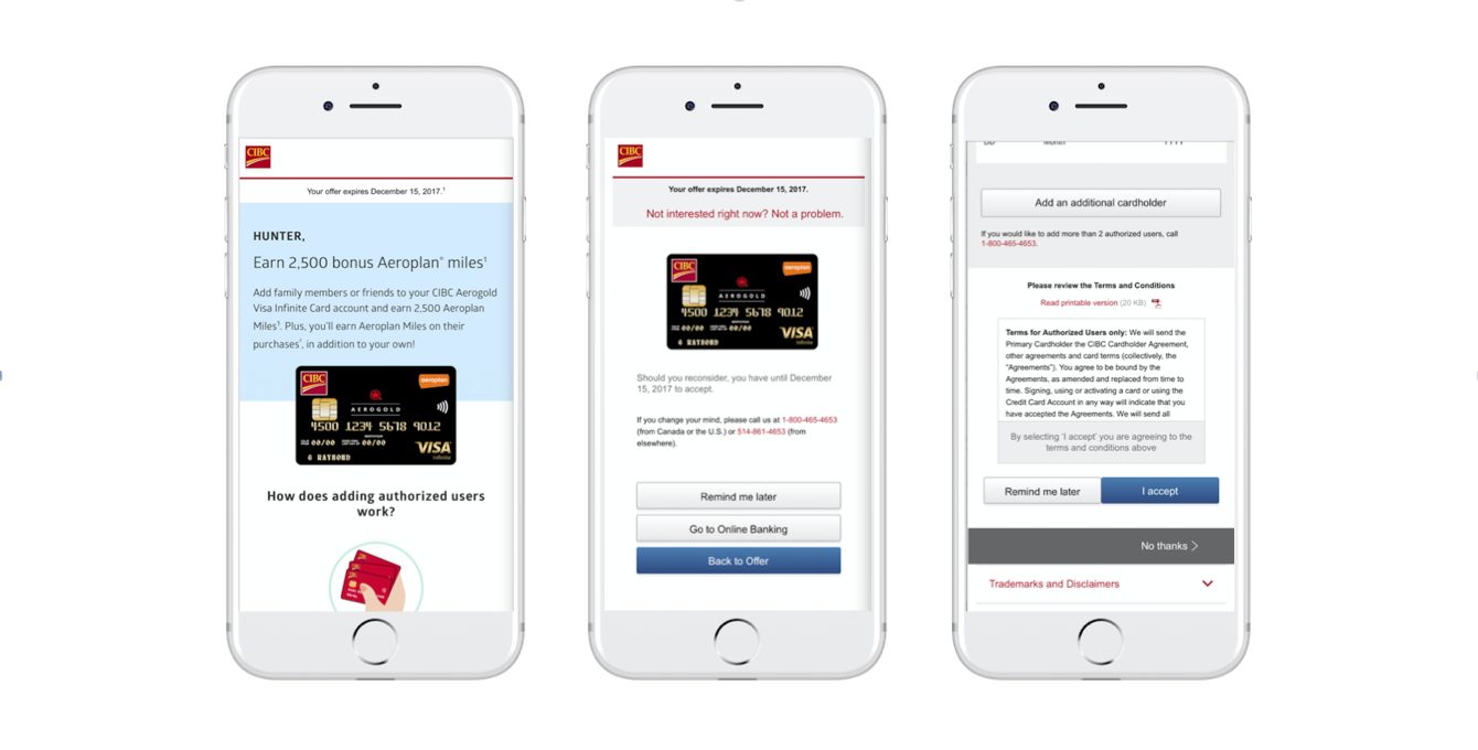 CIBC Authorized Users (Digital Marketing) - Worked alongside Graphic Designers, Editorial Specialists, Developers and QA Specialists to drive the end-to-end delivery of the Fall 2017 Authorized Users targeted offer.