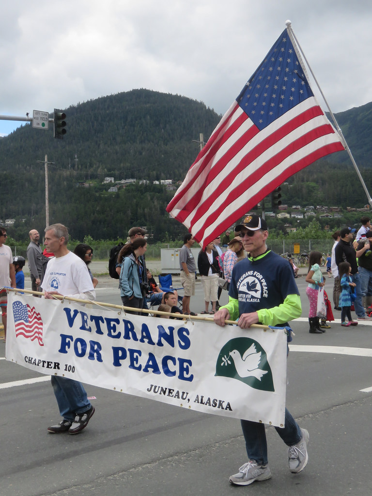 Photo: Members of Chapter 100 of Veterans For Peace marching in the Juneau 4th of July parade.