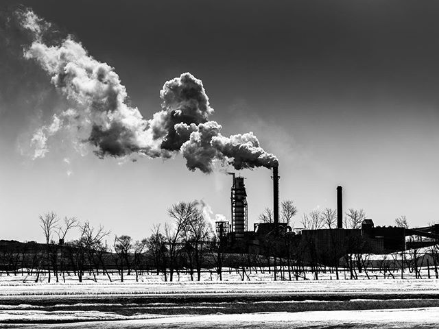 """""""Smoke Stacks"""" have captivated me since childhood. Now that I photograph them, I have an excuse to keep staring at them. This is eastern North Dakota, at a sugar beet processing plant.  #industrielkultur #industry #smokestack #industrialphotography #industrialphotographer #sugarbeets #ndlegendary #capturenorthdakota #midwestcaptures"""