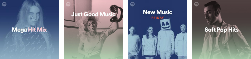 Official Spotify playlists have the Spotify icon in the top left corner.