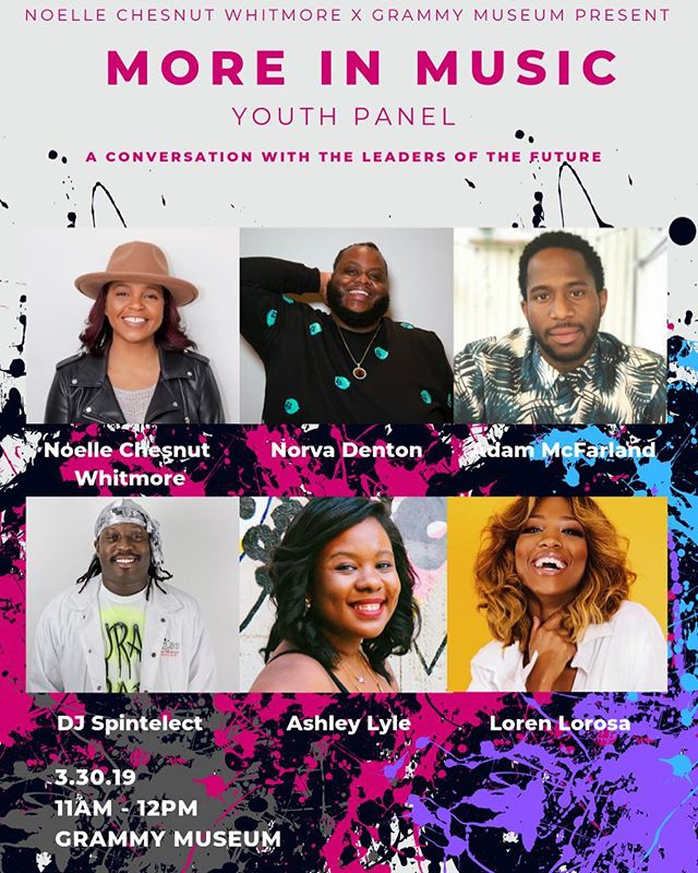 We have a double hitter for you all! . In addition to panel at 1pm, we have partnered with the @grammymuseum on panel with local high school students. The youth are the future and More In Music is here to encourage and uplift them. . This special iteration of More In Music is also open to other youth. Do you know a young person who wants to know more about music? Invite them out. We have a few seats reserved for these young people. Tag a parent and have them bring their child or tag a young person and invite them out. DM us if you would like to attend.
