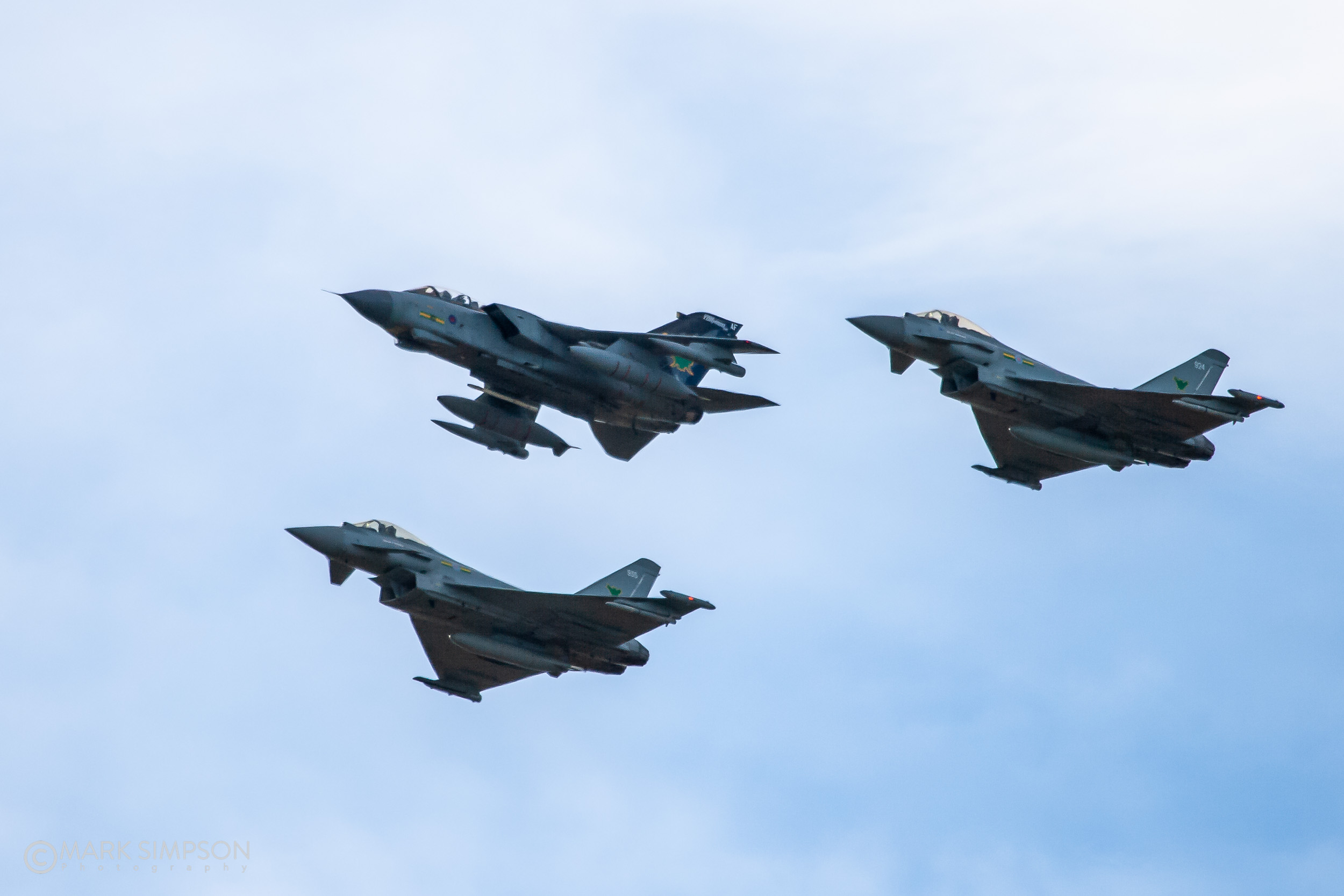 No.9 Squadron Tornado ZG775 with Typhoons ZJ924 and ZJ935.