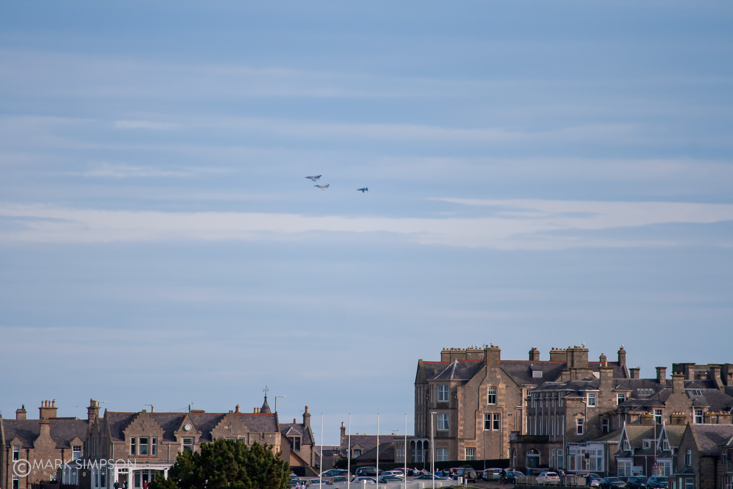 No.9 Squadron Typhoon with Tornado ZG775 and Hawk XX198 over Lossiemouth.