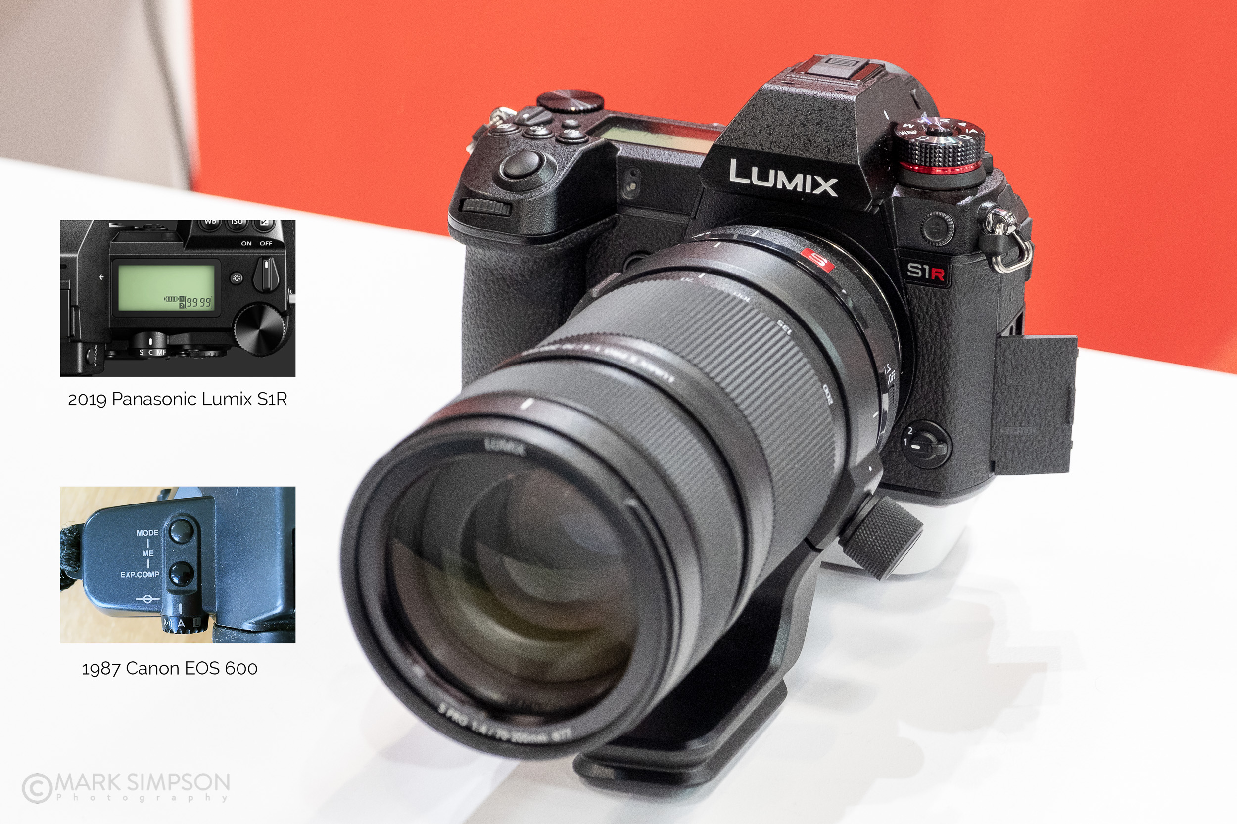 The new Panasonic Lumix DC-S1RM camera with a focus mode dial (and top LCD) that look very similar to my Canon EOS 600 from 1987! (FujiFilm X-T2, Fujinon XF16-55mmF2.8 R LM WR)