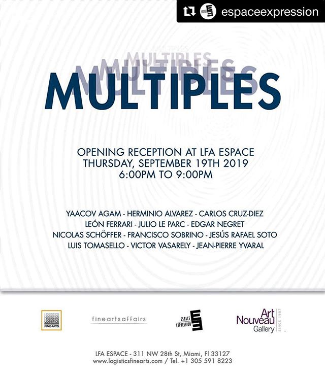 #Repost @espaceexpression ・・・ Don't missed the opening reception of Multiples next Thursday 19th, at LFA Espace. @artnouveaugallery @lfaespace  #art #exhibition #multiples #editions #miami #wynwood