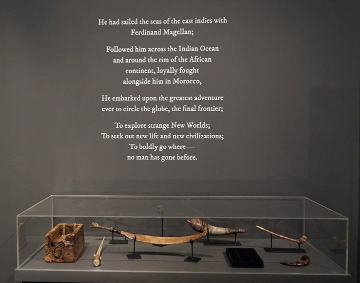 Ahmad Fuad Osman, Enrique de Malacca Memorial Project (2016–ongoing). Single-channel video projection, oil on canvas, fibreglass and resin castings, 16th-century Portuguese coins, canon and canon balls, Ming Dynasty ceramics, old Malay daggers and spears, carved whale and marlin bones, rosary beads and paternoster, clothing, archival material and found objects. Dimensions variable. Exhibition view: Singapore Biennale 2016: An Atlas of Mirrors (27 October 2016–26 February 217). Courtesy the artist.