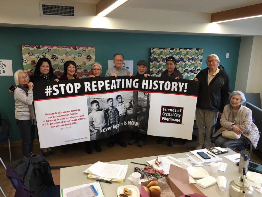 Crystal City Pilgrimage and Protest Committee with the banner for the protest that Kaz Naganuma designed (photo by Victor Uno)