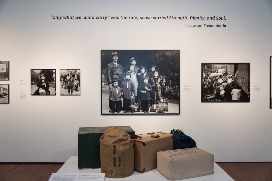 Installation view of Then They Came For Me: Incarceration of Japanese Americans during WWII and the Demise of Civil Liberties at the Presidio, San Francisco (image courtesy theJonathan Logan Family Foundation)