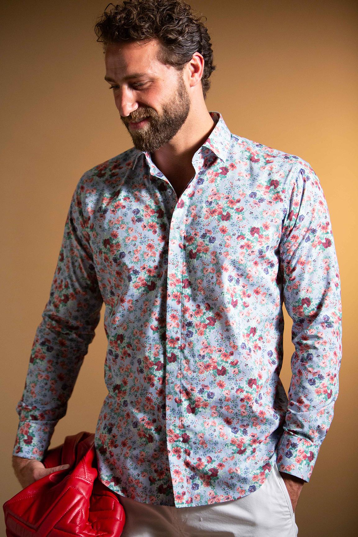 Bogosse Tonal Jacquard Paisley Buttondown Shirt in Blue