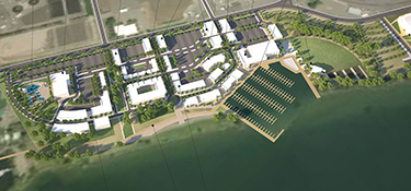 Image from Hansen Design. Full build out covers 52 acres and a new marina.