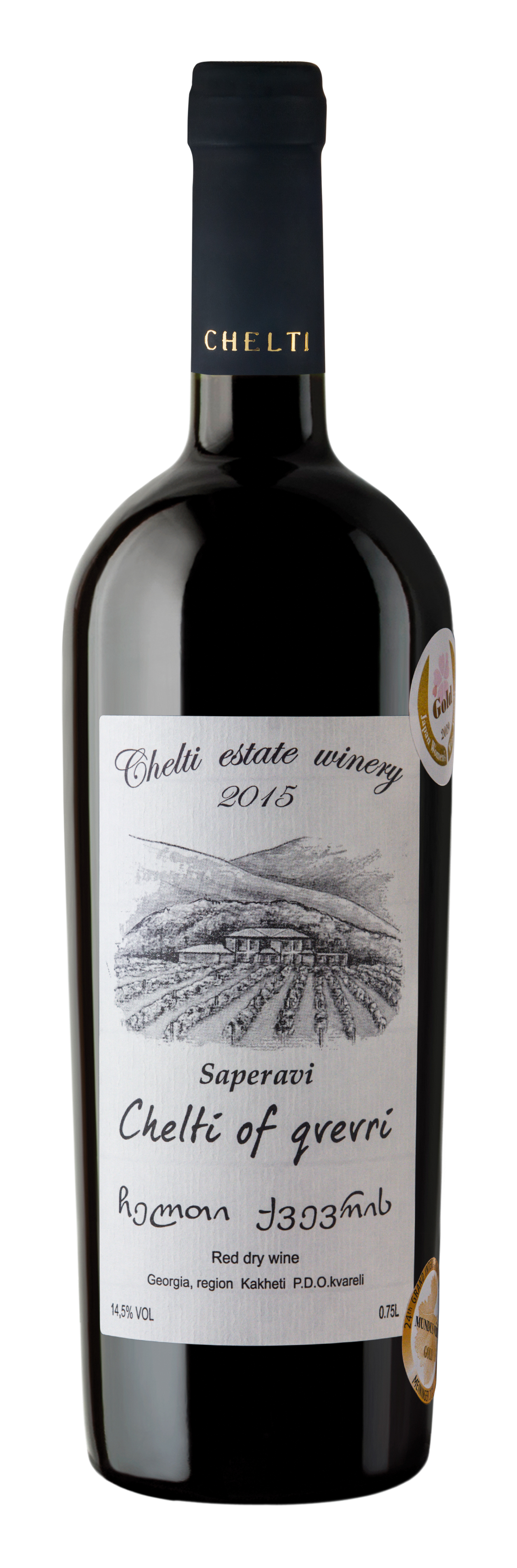 Chelti of Qvevri 2015 Red Dry - Alcohol: 14.5 % Volume 0.75 literA premium quality dry red wine is made from selected Saperavi grape variety grown at Chelti Vineyards. The vineyard is cultivated at the bottom of Caucasus range – on the rocks deposited by river Chelti. In August, Green harvest is held at Chelti Vineyards and unripe grapes are picked from vine, as a result of it only 5-6 tons of grapes are received per one hectare of vineyard. Received grapes are distinguished by sharp taste and varietal aromas.