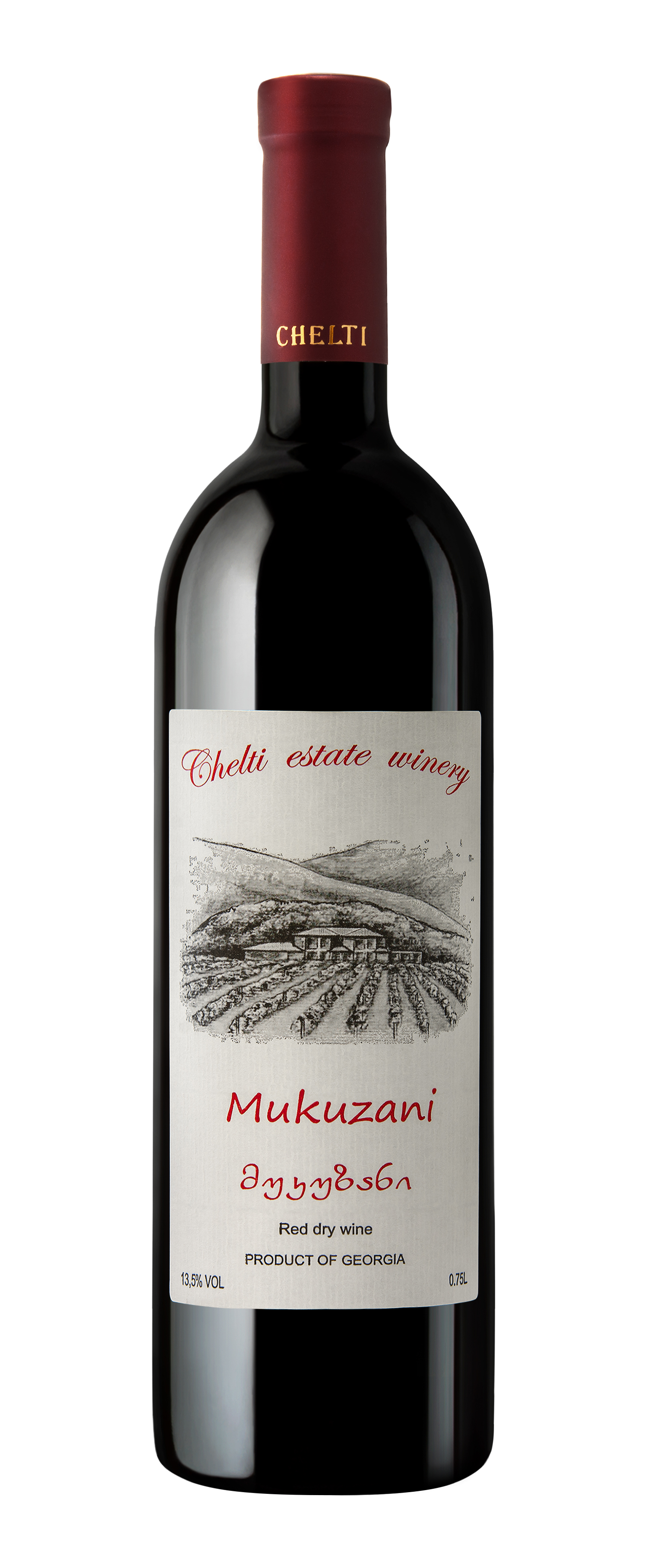 Mukuzani 2015 - Saperavi – Red Dry – Alcohol: 14.0% – Volume: 0.75 LThe wine is made at Chelti Vineyards from Saperavi grape variety grown in the Mukuzani micro zone. The wine has a flavor traditional to this strain with notes of ripe cherries, almonds and vanilla. The taste of tannins is delicious combined with notes of oak, with a long finish.