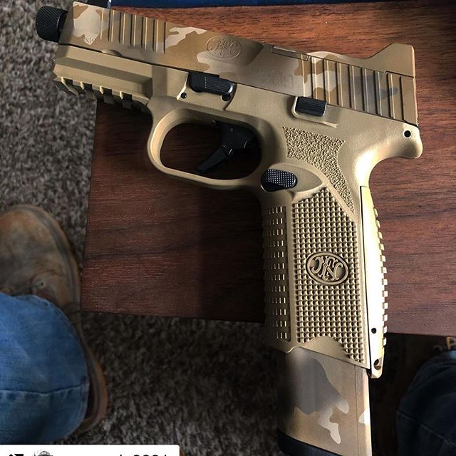 Looking good all put together. #Repost @moncada2001 with @get_repost ・・・ Thank you @fallriverarms for setting my FN 509 up with a solid multicam cerakote job! And thank you @overland_armament for the FN509 Tactical #FDE #fn509tactical #Multicam #gunporn
