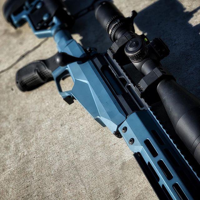Tikka T3 Tactical wrapped in that Blue titanium and sniper grey. Ready for some NRL action. #cerakote #cerakotecertified #cerakotemafia #tikka #tikkat3tactical #nrl #prs #longrange #myshitscustom #bluetitanium #snipergrey