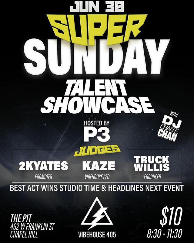 Calling all artists looking to perform  SUPER SUNDAY TALENT SHOWCASE  6.30.19 @ The Pit @pitchapelhill Hosted by @p.3iddy (contact for details)  Sponsored by @vibehouse405  #VibeHouse405  Home of the Creative Rebels. #vibehouse405 #music #studio #hiphop #studioflow #producer #artist #songwriter #recording #Billboard #SESAC #ASCAP #BMI #rock #soul #reggae #dance #edm #trap #country #media #video #photography #vocals #engineer #art #positivevibes