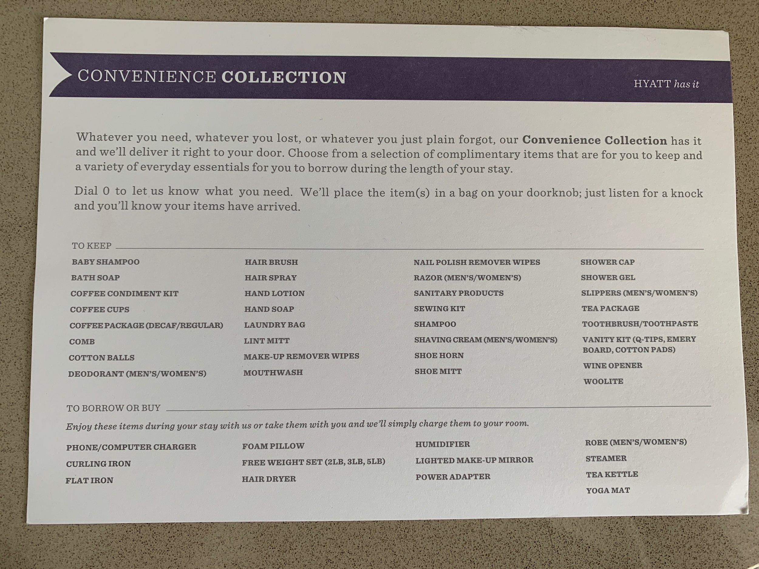 Extensive list of Hyatt's Convenience Collection. Covers anything you may have left at home!