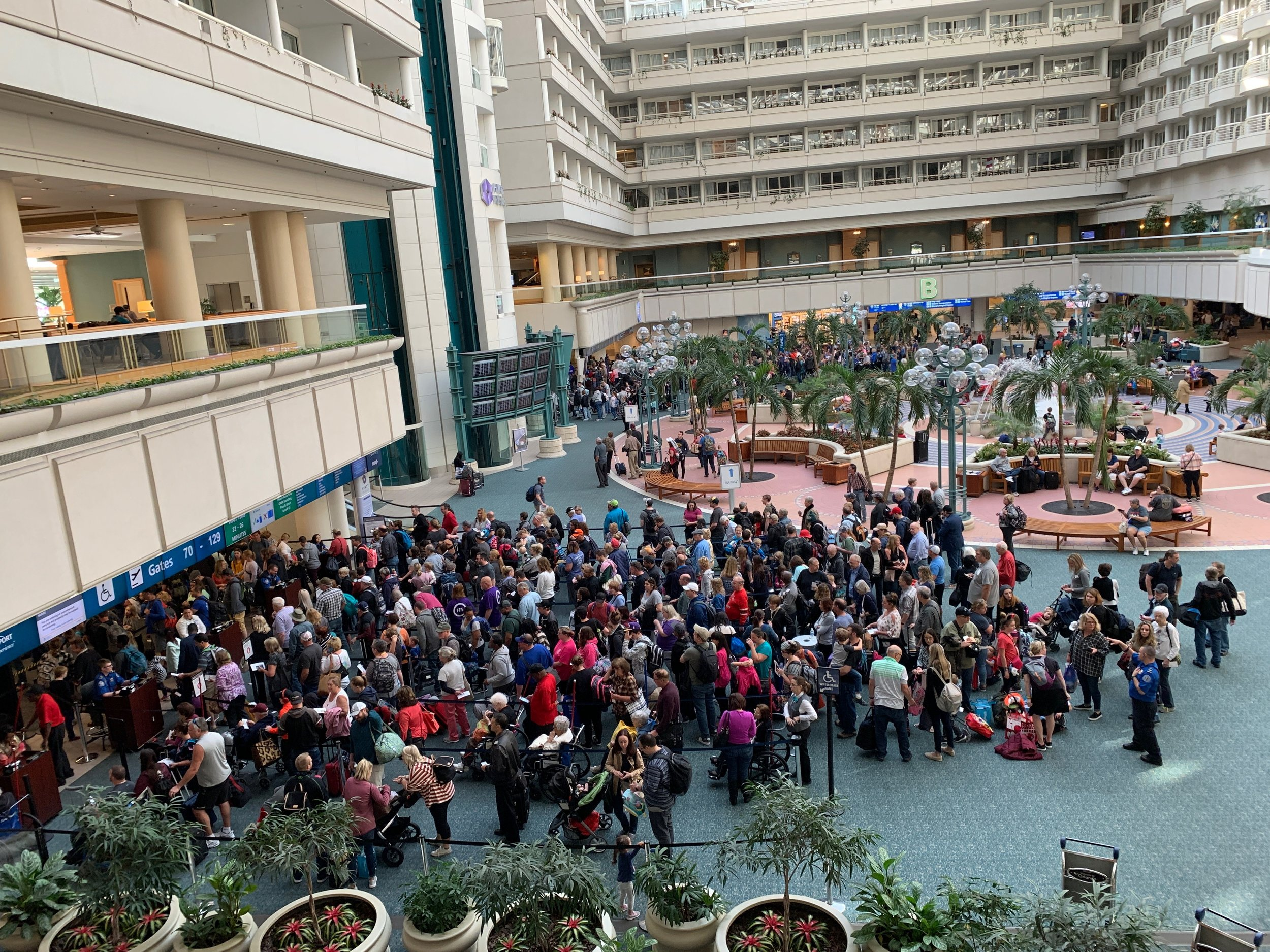 A view of the lines at TSA Security Check Point from the Hyatt