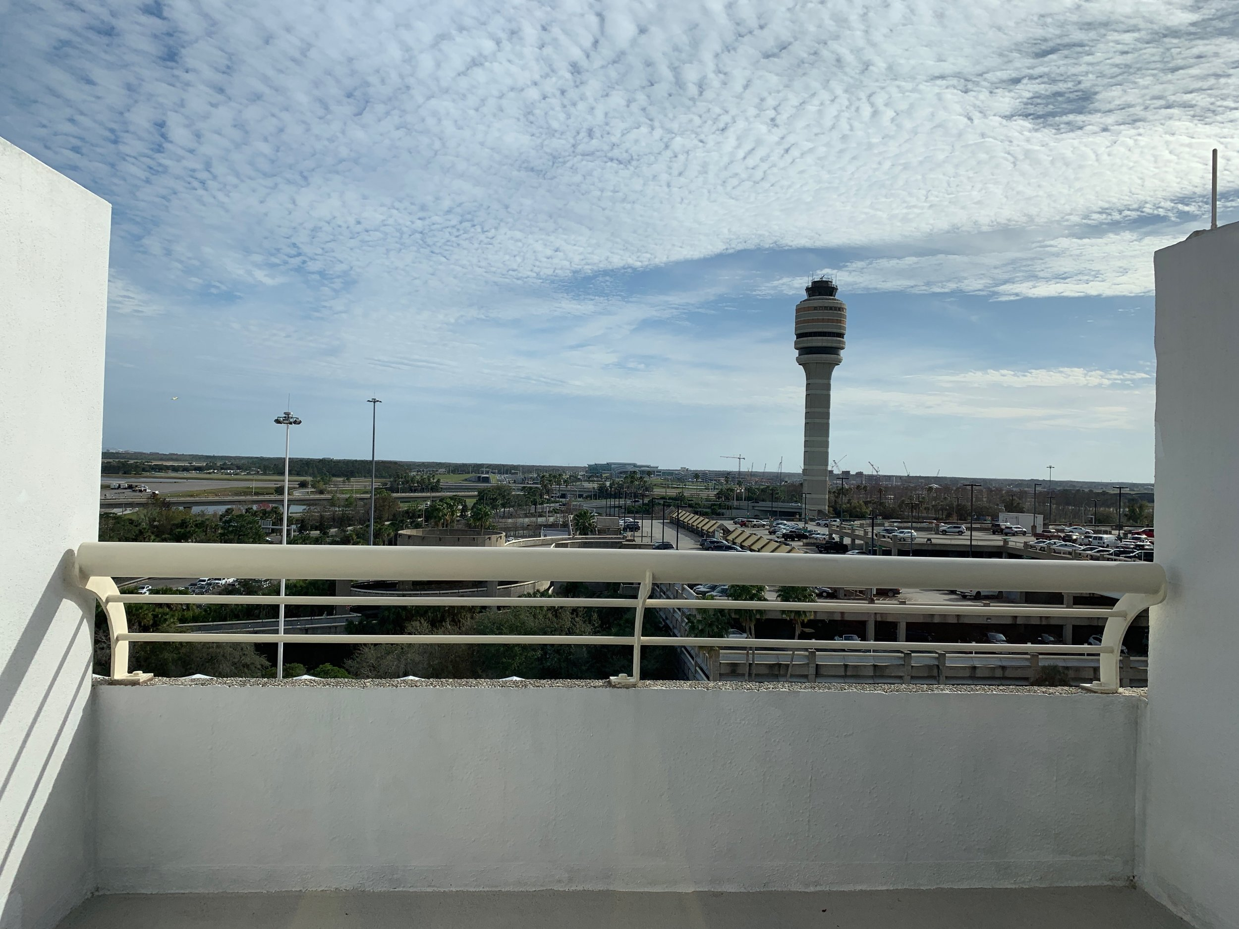 HUGE balcony over looking the airport parking and tower.