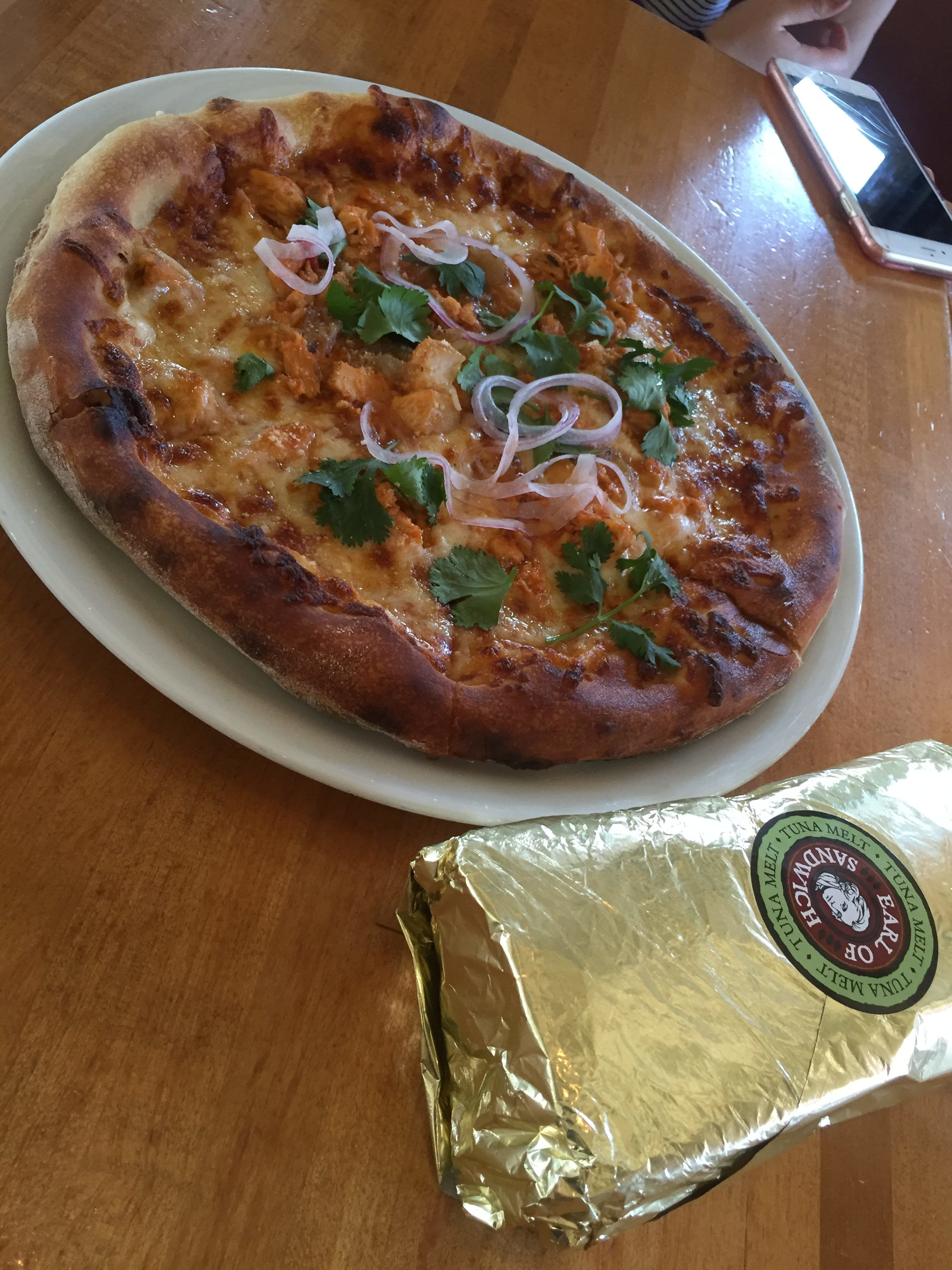 Some days, we mix and match. Earl of Sandwich Tuna Melt and Wolfgang Puck BBQ Chicken pizza.