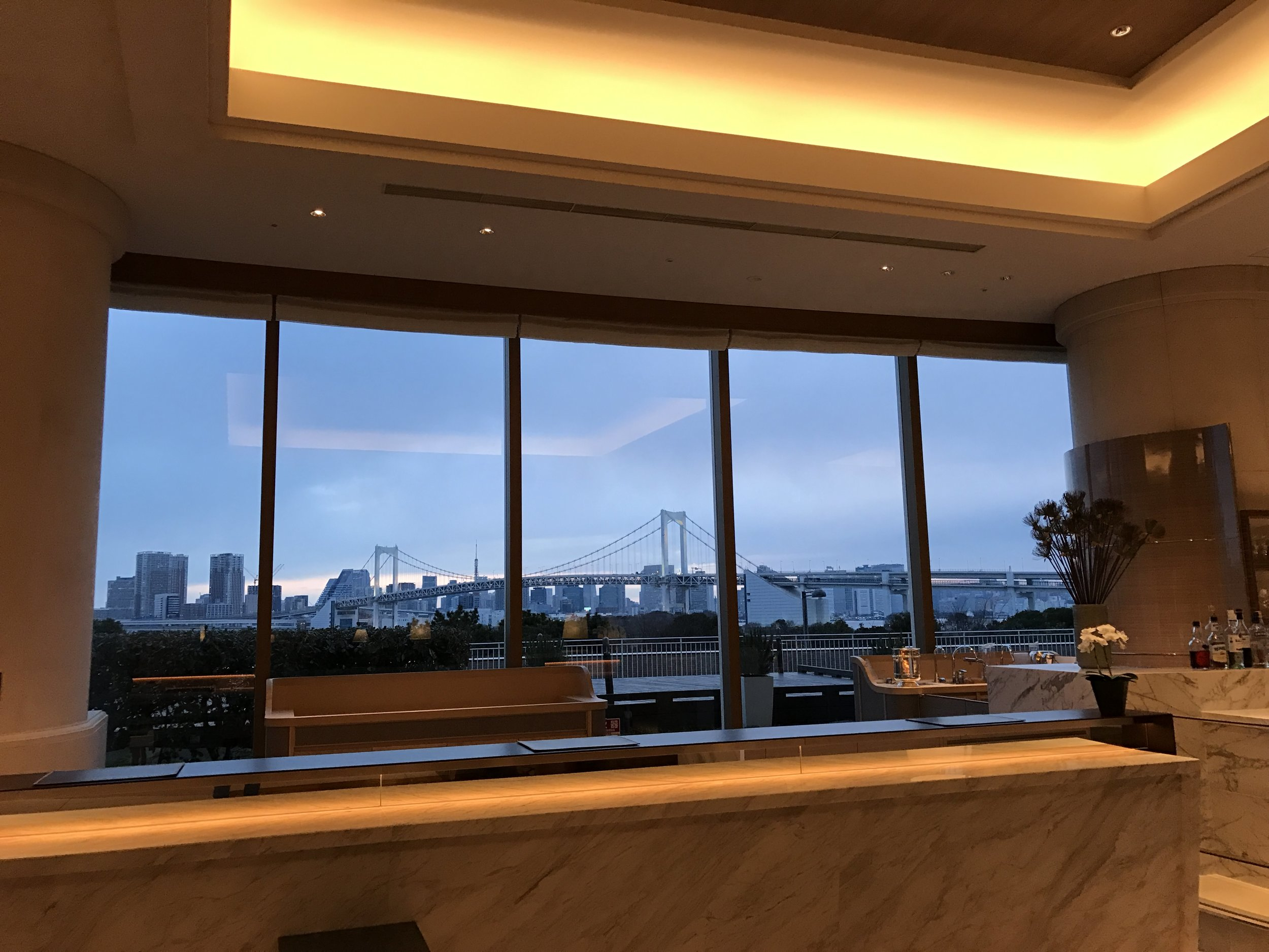 How dreamy is this backdrop? The Check in Desk offers panoramic views of the bay and Rainbow bridge