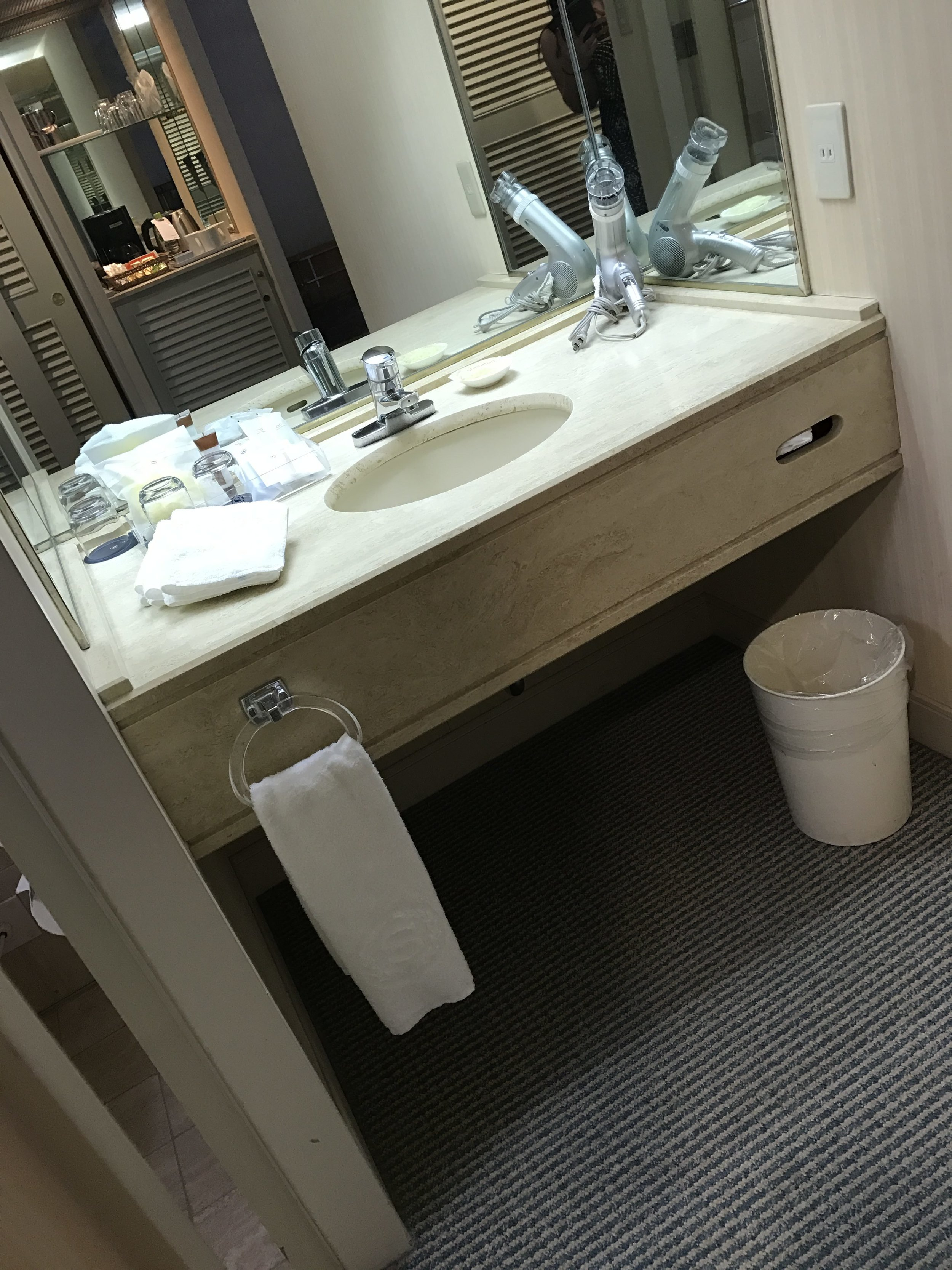 Love that the bathroom sink is separate from the shower and toilet. It makes getting ready easy in the mornings