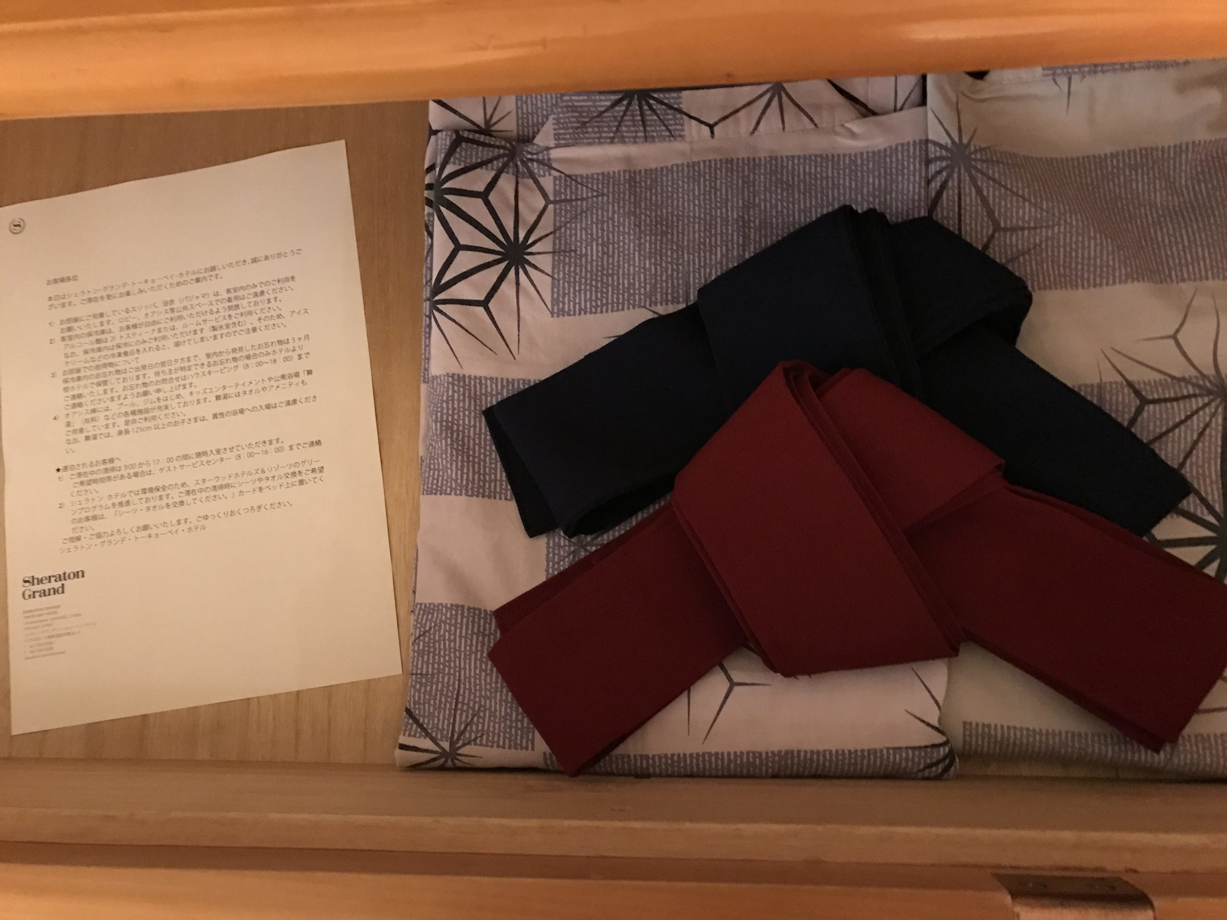 Cute Japanese robes provided in our room
