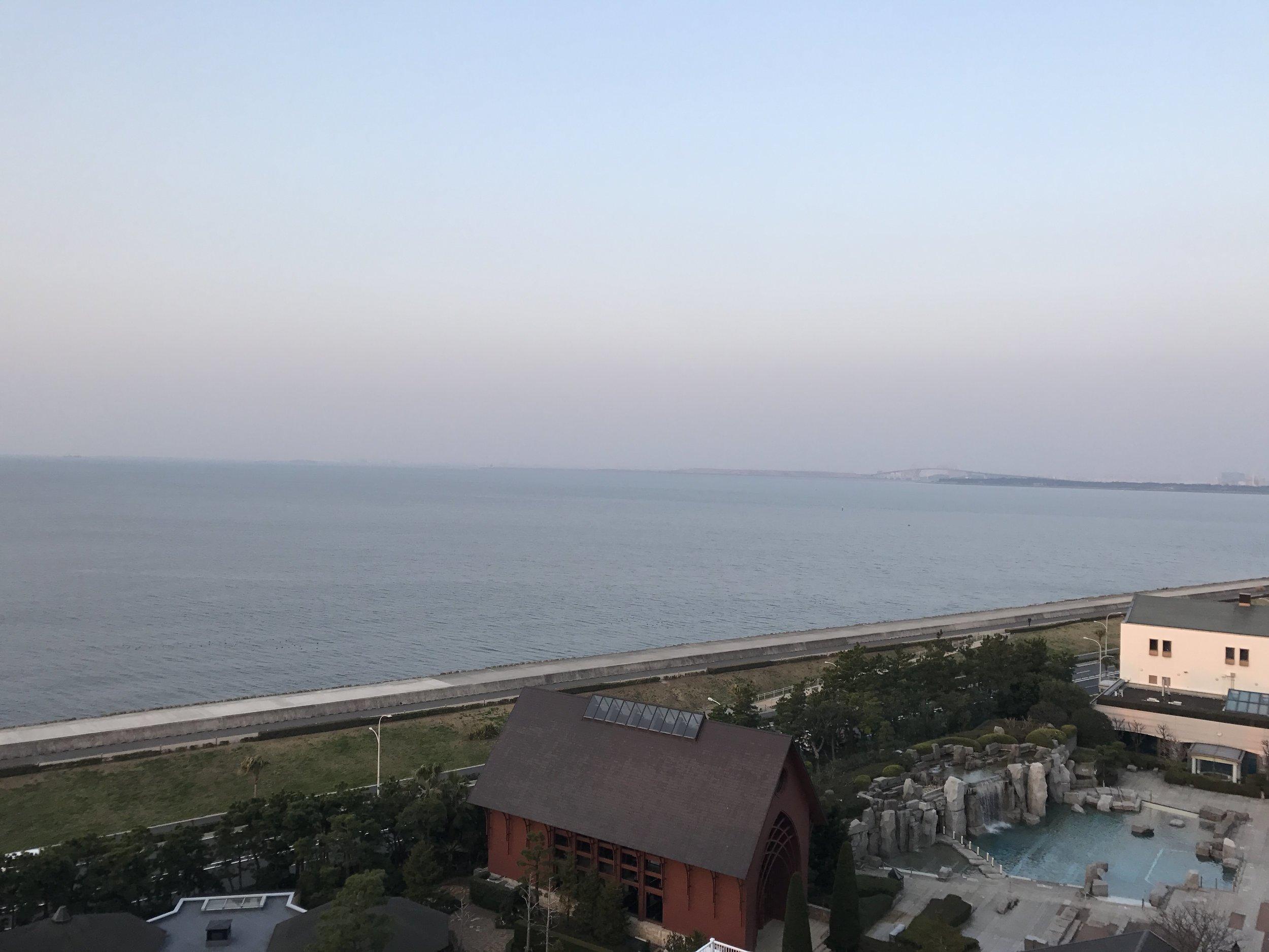 Overlooking the pool, wedding chapel and Tokyo Bay.