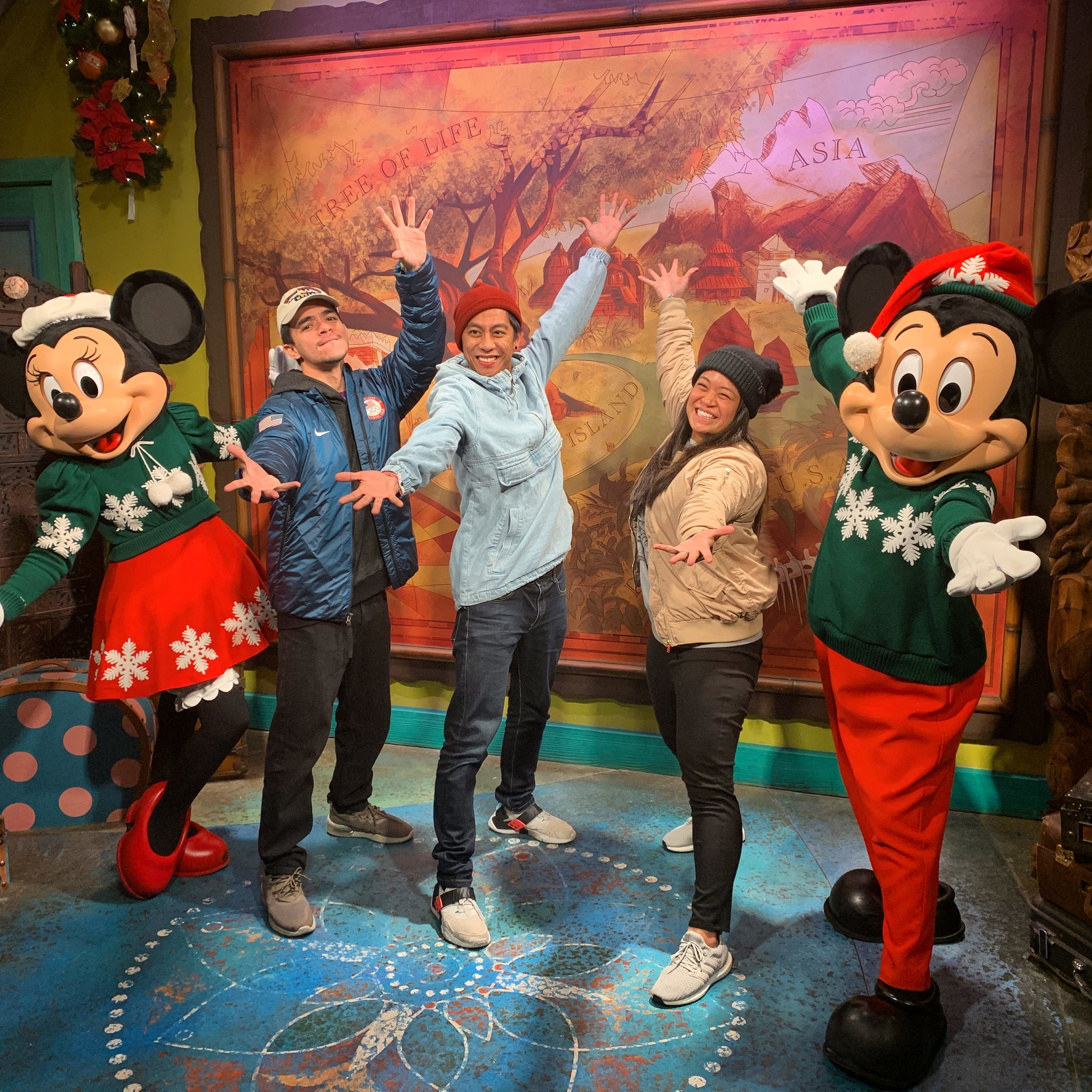 Poses with Mickey and Minnie