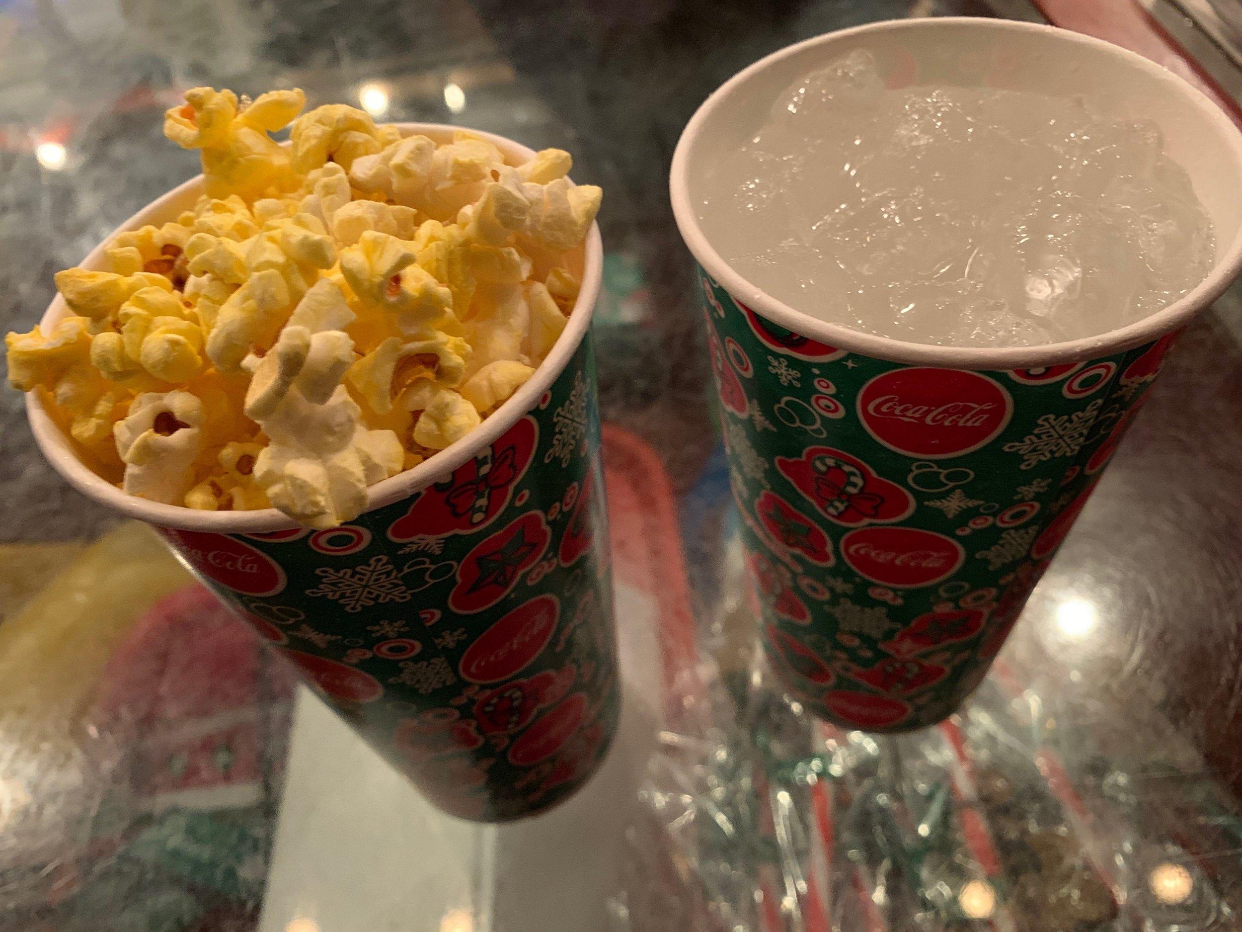 Snack size popcorn and sprite