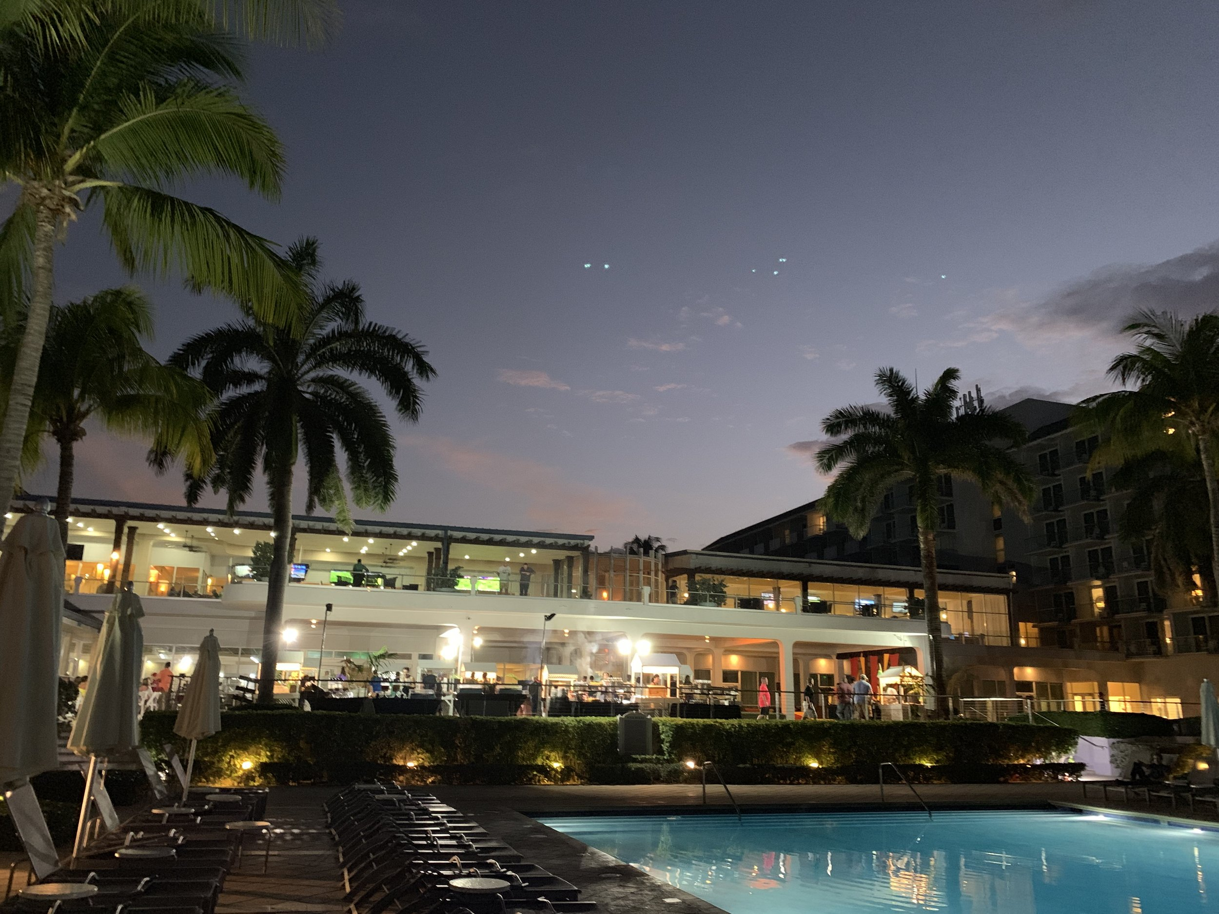 Evening view of the main building from the main pool