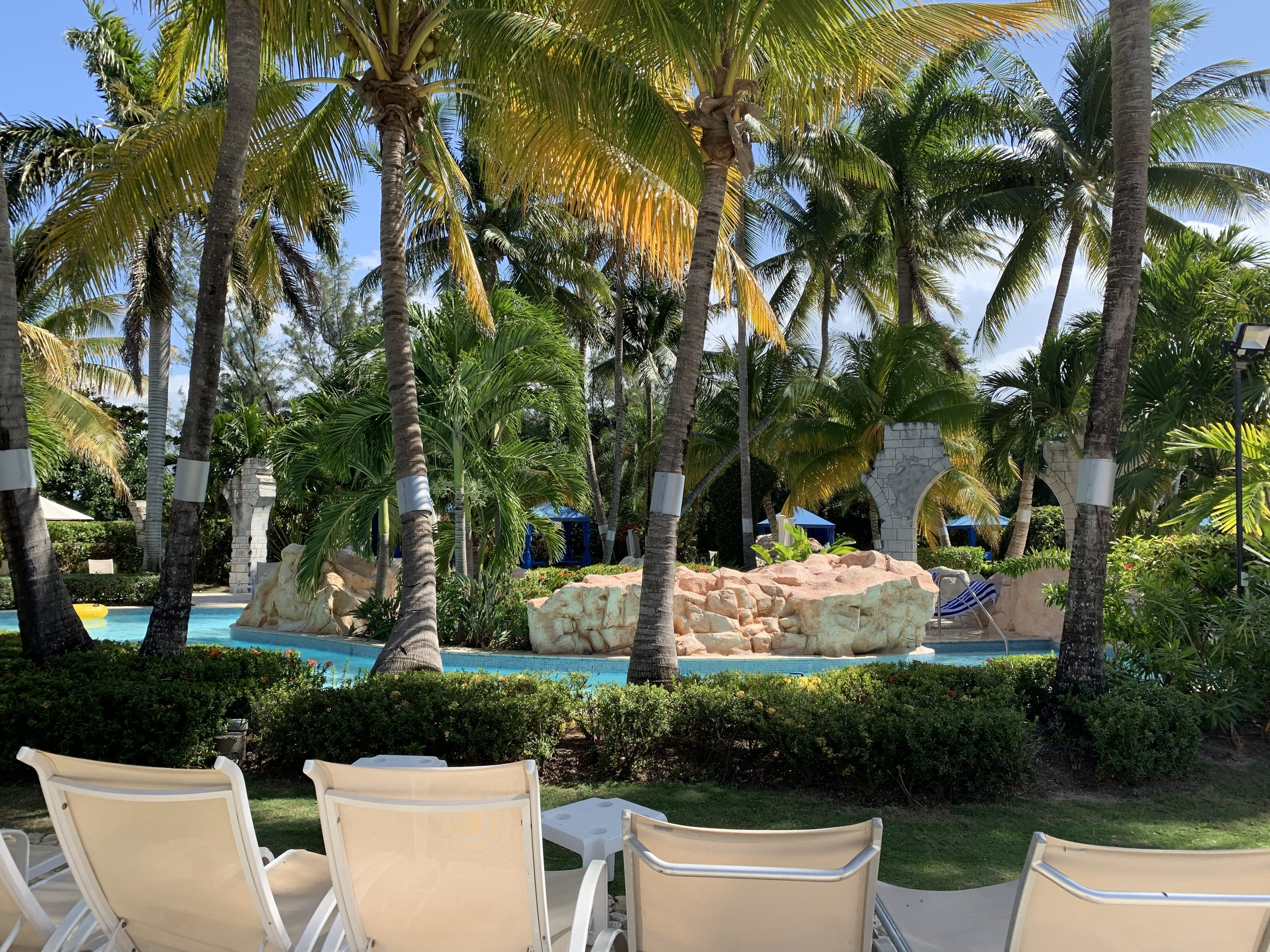 View of the lazy river from the loungers