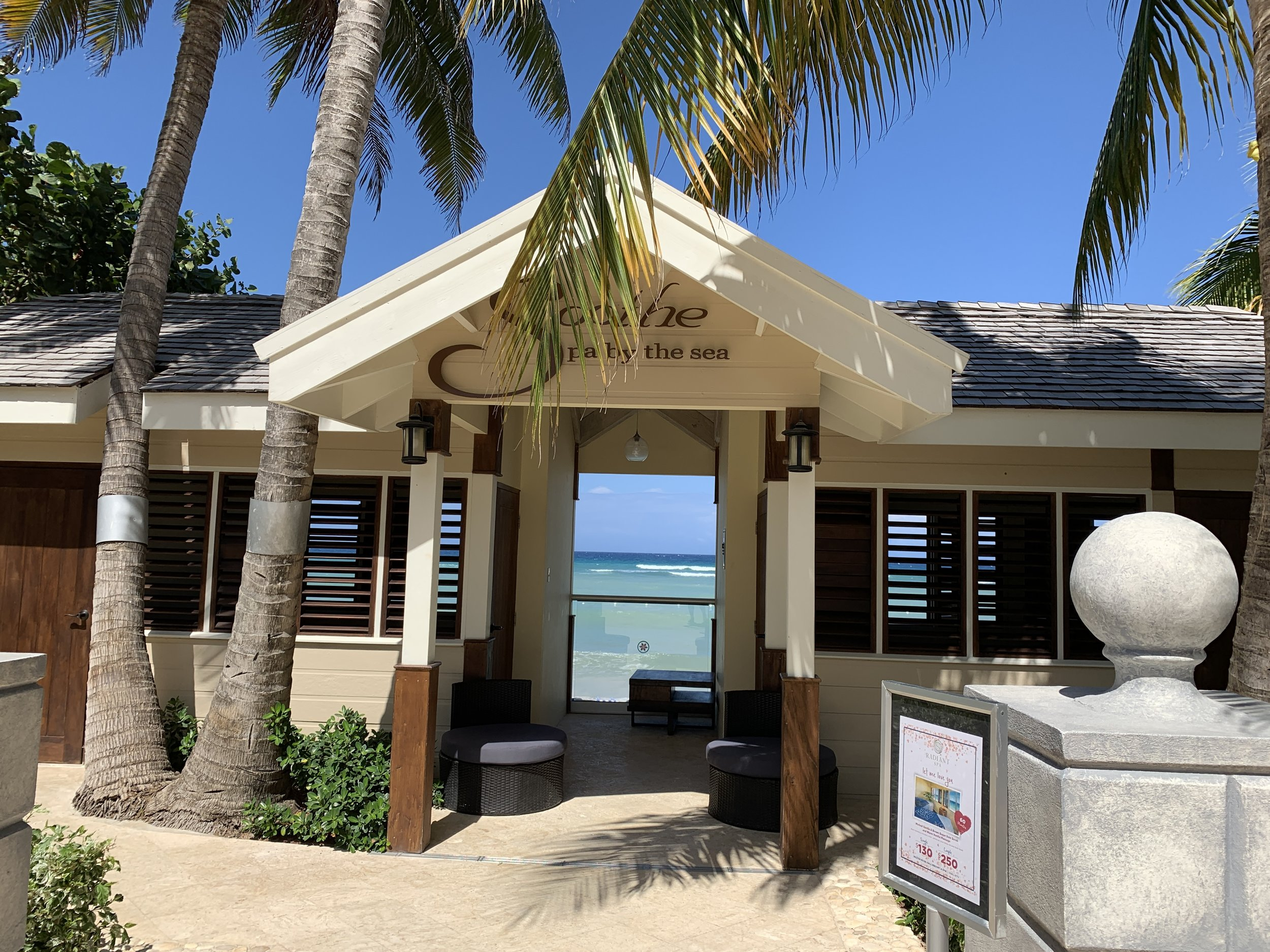 Soothe by the Sea - seems relaxing at a glance but it's right next to the Activities desk, pools, beach loungers, and mangoes live music.