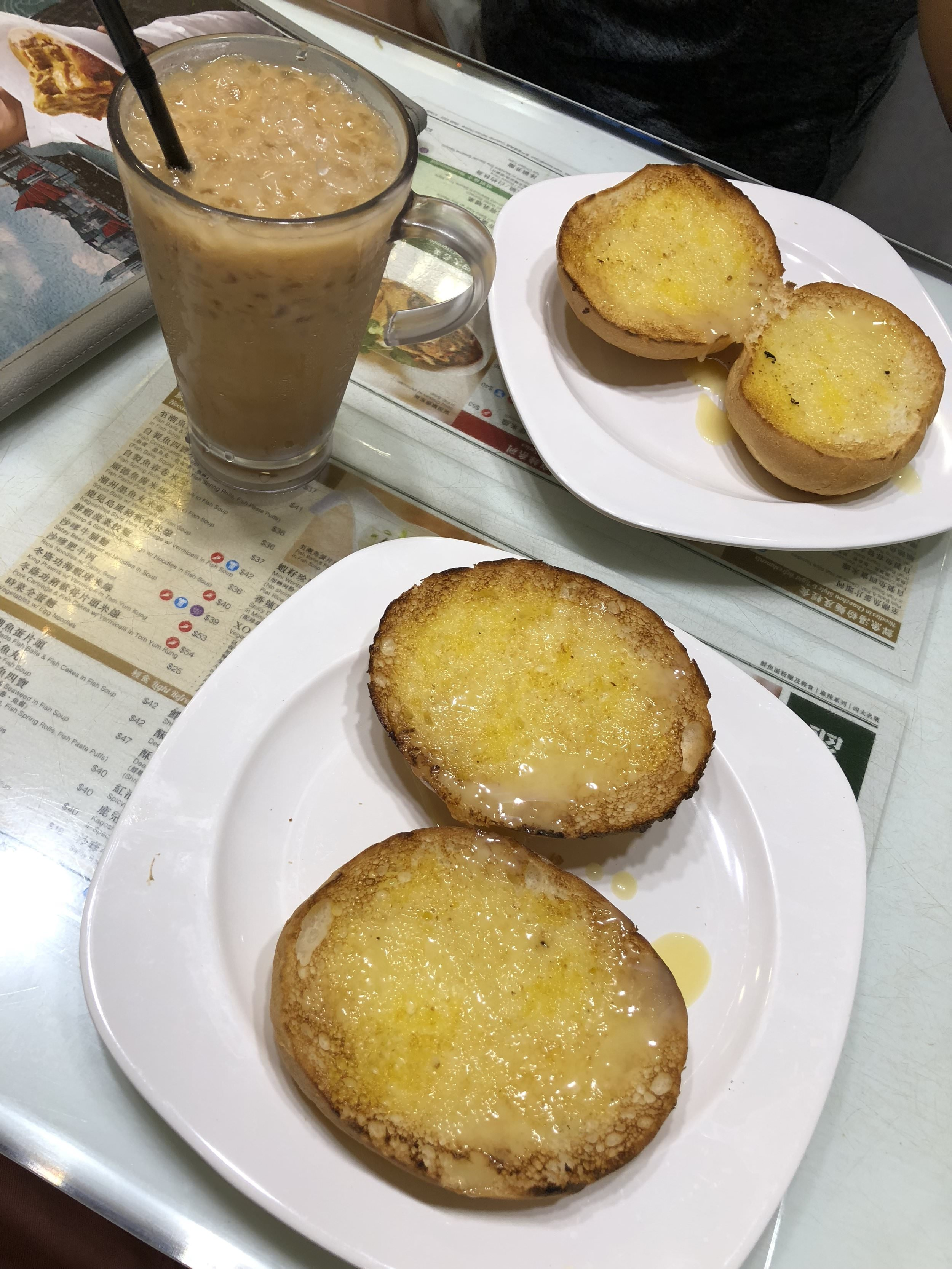 Hong Kong Toast with butter and condensed milk with a Hong Kong milk tea.
