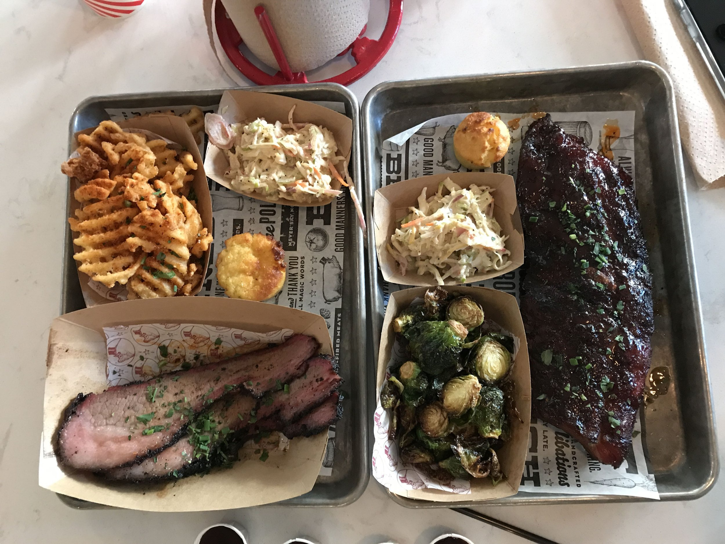 Our meal at Polite Pig. The Brisket and Ribs plate. Each plate is 1 quick service credit on the dining plan.