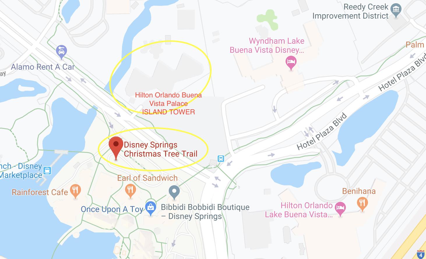 Christmas Tree Trail on Google Maps.