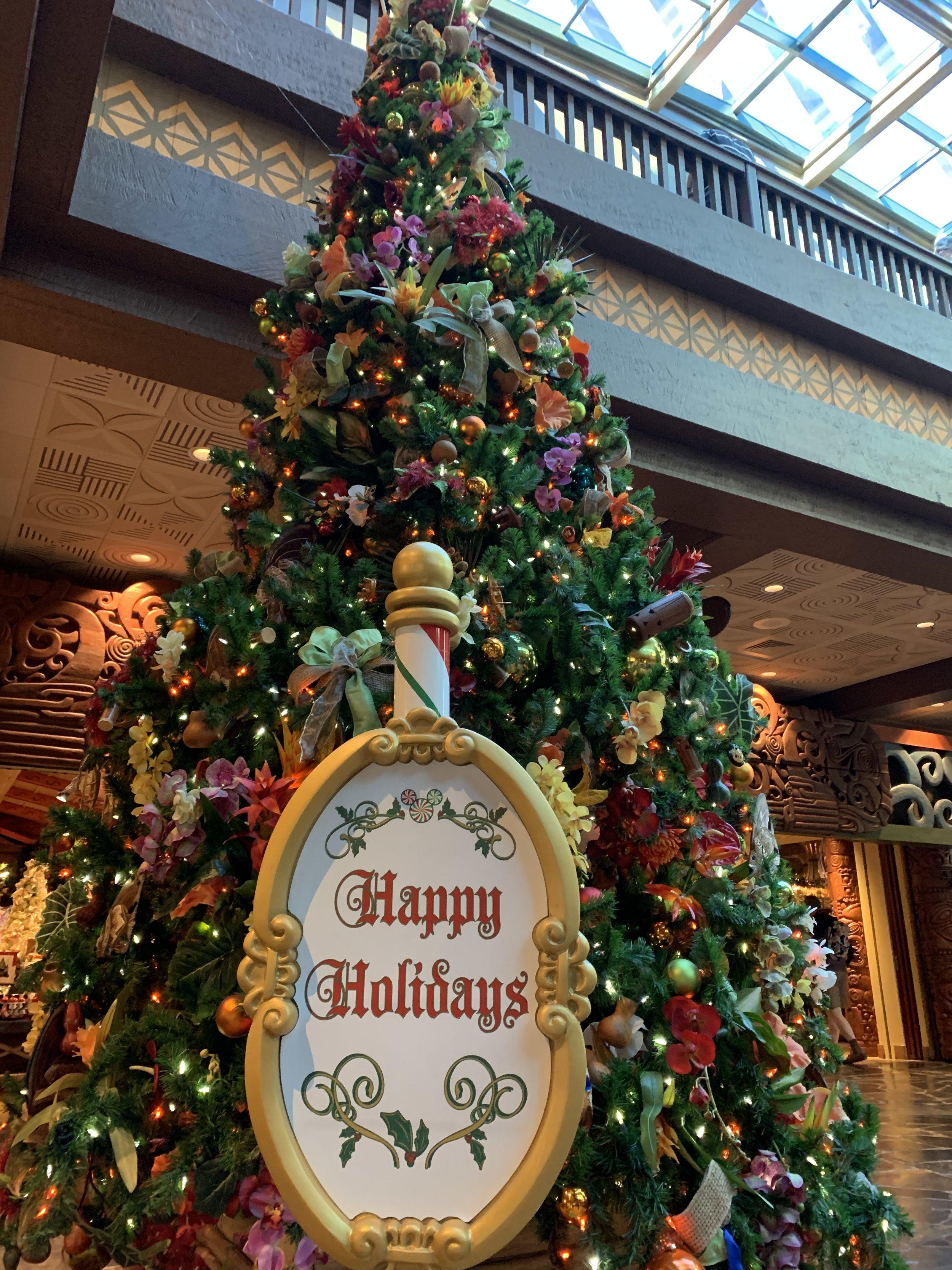 Disney's Polynesian Resort lobby Christmas Tree