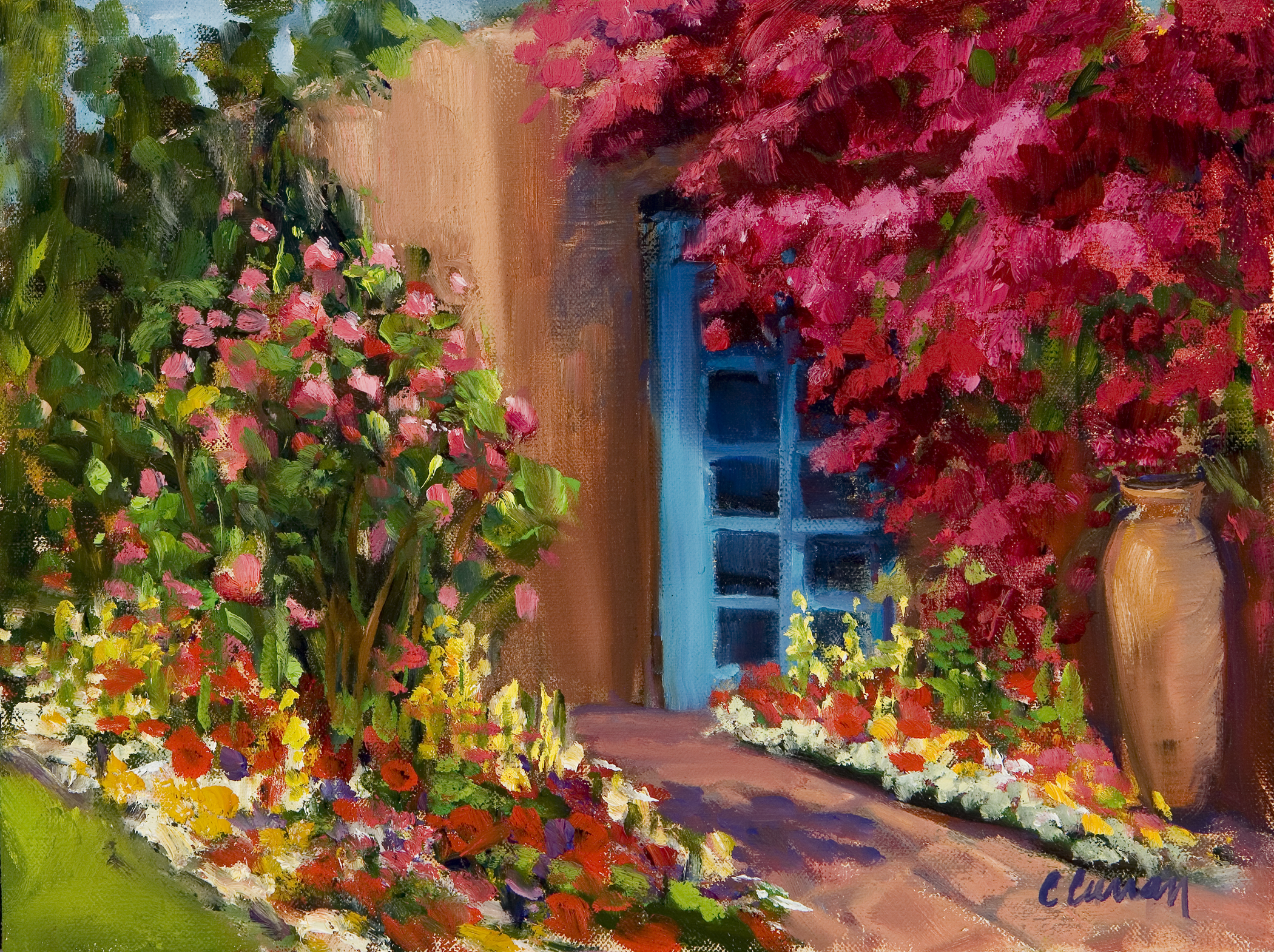 THE BOUGAINVILLEA AT THE HERMOSA   9X10, OIL ON LINEN