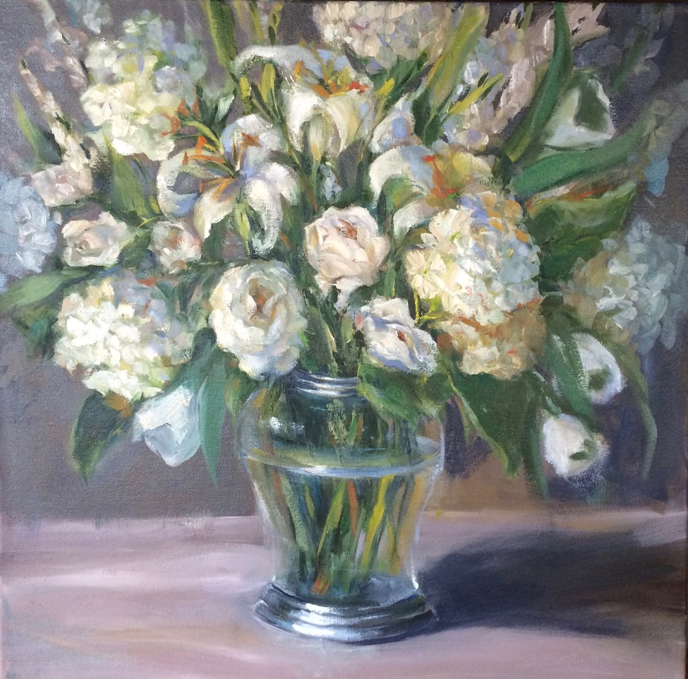 BOUQUET IN WHITE   36X36, SOLD  Prints Available