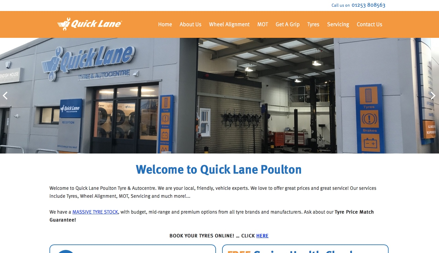 Quick Lane Poulton - We have optimised this local garage website to appear high up in organic search engine searches for key phrases which are essential to the business. Our Search Engine Optimisation or SEO techniques have ranked this website highly for these phrases, generating traffic and enquiries to the business.