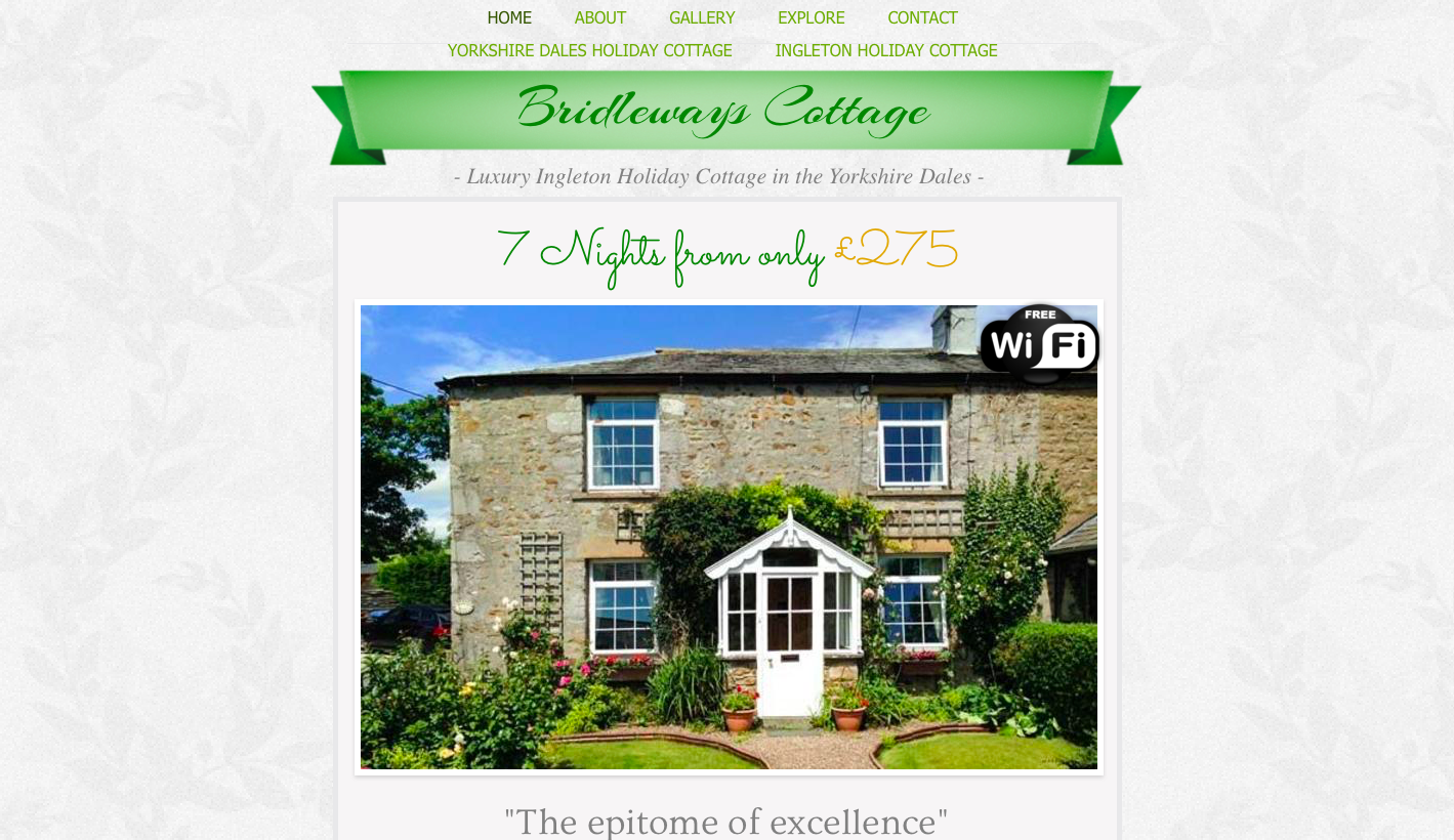 Bridleways Holiday Cottage - Studio 36 Digital created this website to showcase this beautiful holiday cottage in the Yorkshire Dales. We created the website to the owners taste and included Search Engine Optimisation to help this website appear before potential customers.