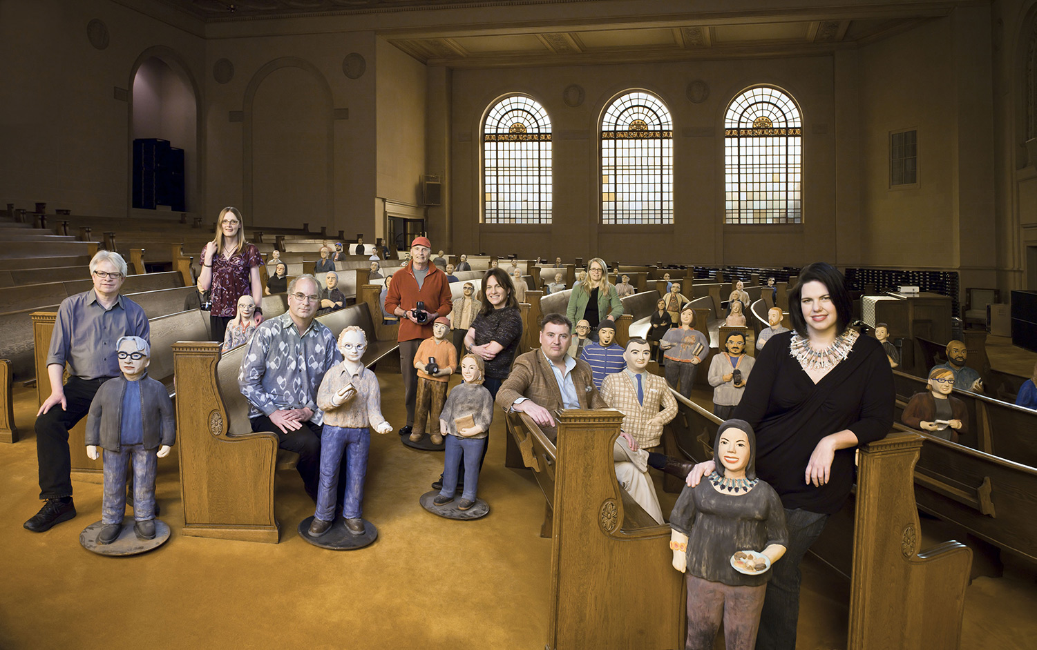 Some  Ceramic Archivists  posed with their human counterparts. Photo: Michael Grecco Productions, Inc. 2012. Featured in   The Human Face of Big Data   by Smolin and Erwitt (pages 24-25 ).