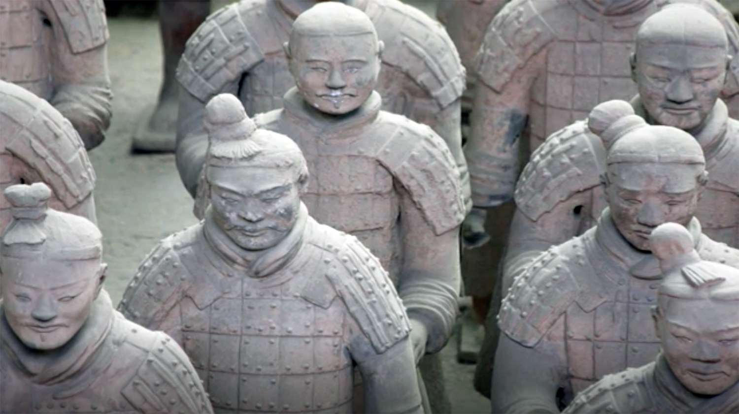 The Terracotta Army  in Xi'an, Lintong District, Shaanxi, China, late third century BCE (detail). Still from