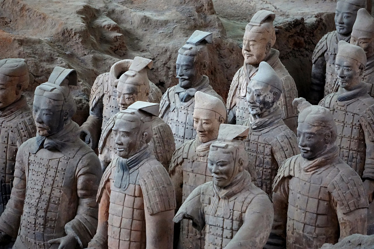 The Terracotta Army  in Xi'an, Lintong District, Shaanxi, China, late third century BCE (detail).