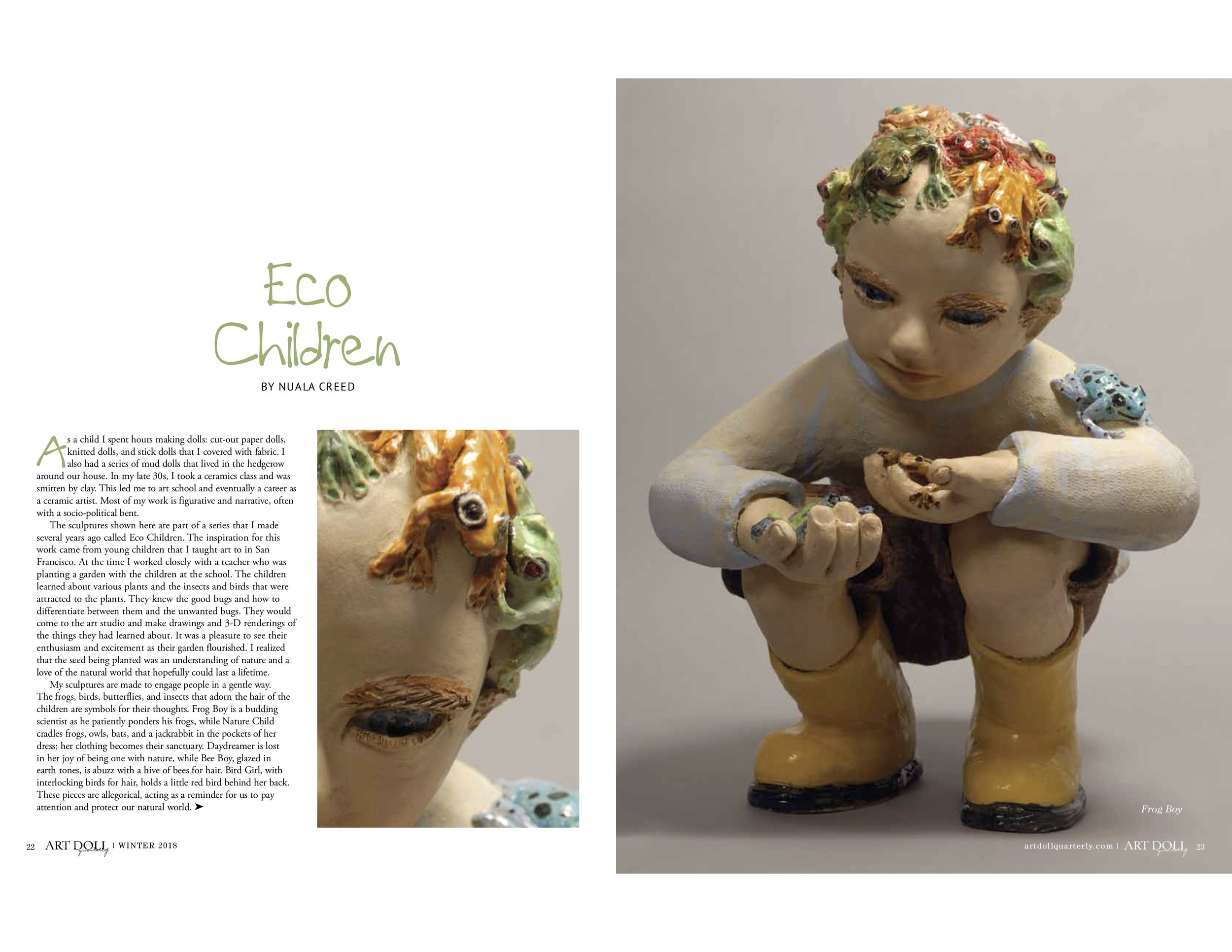 "Nuala Creed, "" Eco Children ,""  Art Doll Quarterly , Winter 2017. Click to download the PDF."