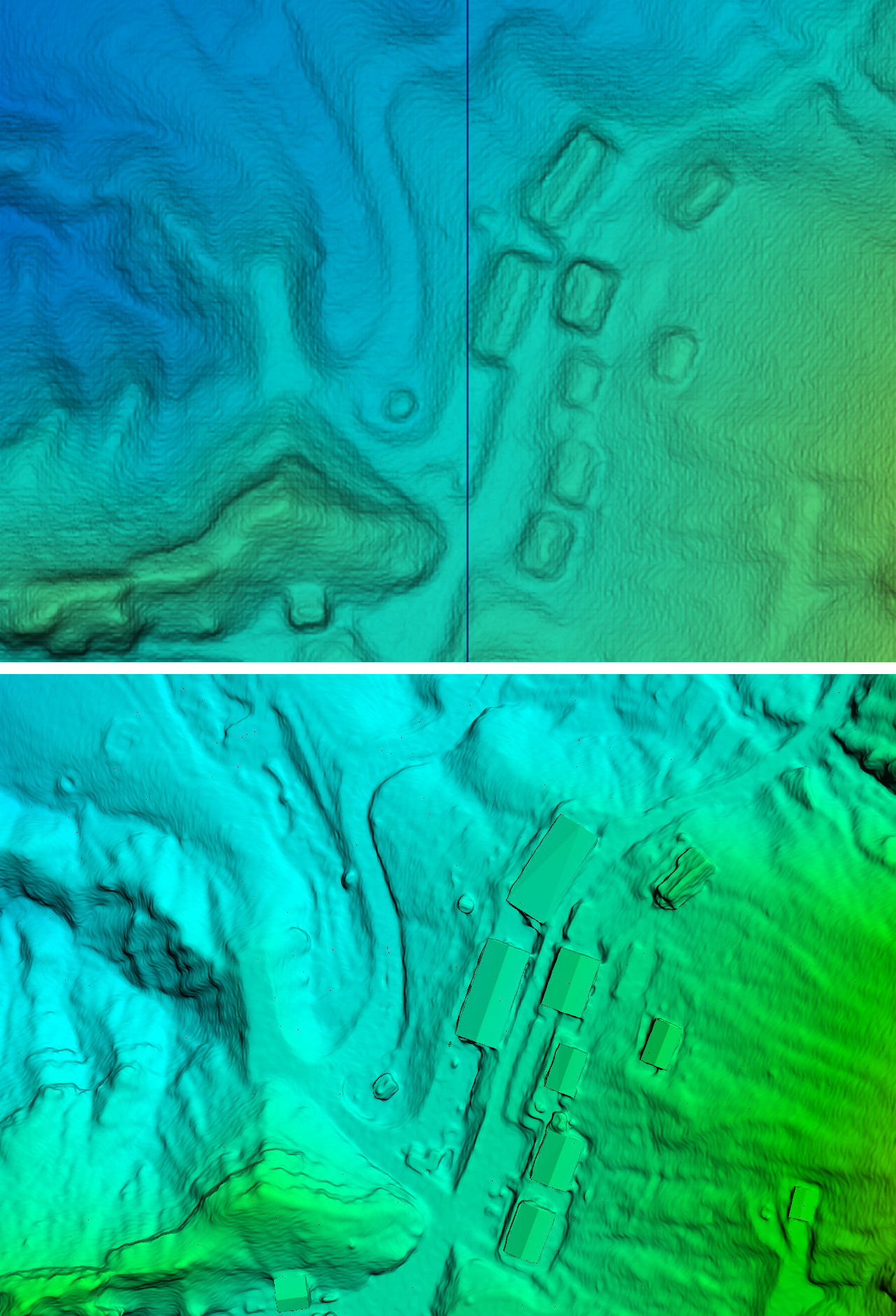 Two data products from the same data. The top was processed with automated, cloud-based software. The bottom, processed with local software, is of much higher quality–particularly with feature texture.