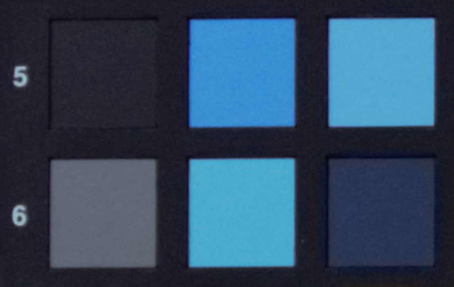 Identical crops from a full-frame camera having 6.25-micron pixels (top) and a sensor having 4.3-micron pixels (bottom). The noisier result in the darker patches of the bottom image is largely a function of shot noise.