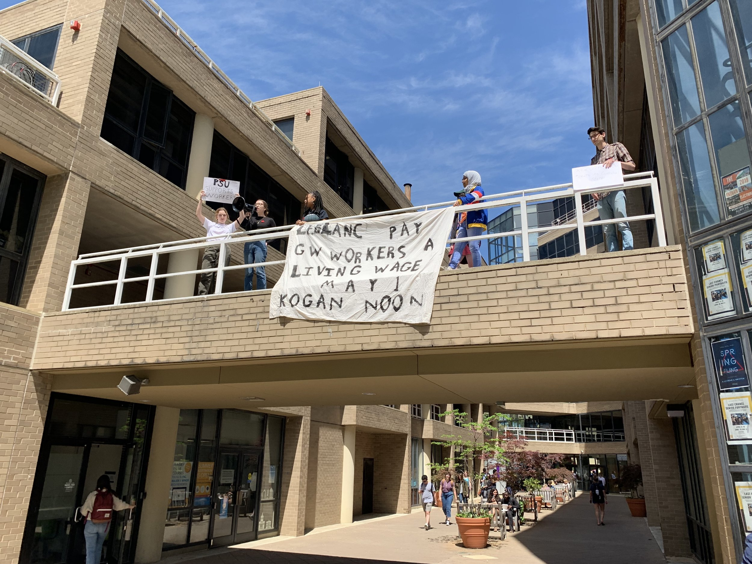 - On April 24, 2019, Fair Jobs organizers dropped a banner off the bridge of Phillips Hall to support our May Day rally for fair jobs and a living wage.