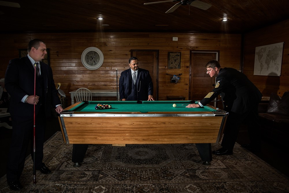THE MAN CAVE - Grooms suite is complete with pool tabledressing room and kitchenette
