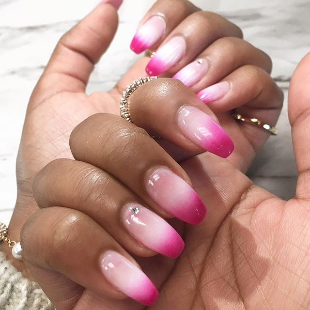 🔥 HOT pink French ombré, everything you need and more! Our girl Trish topped this look off with cute nail gems because accent nails are the cherry on top for a fun look like this! ✨ . . #hotpinknails #frenchombrenails #pinkfrenchnails #nailstagram #nailsofinstagram #nailsonfleek #nails2inspire #instylenailsoakville #nailart #nailgems #oakville #oakvillespa #biogelnails #coffinnails #nailstyle