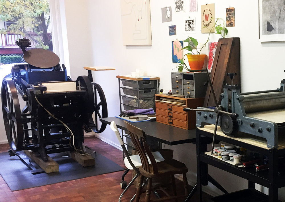 Haylee's studio at Meshwork Press